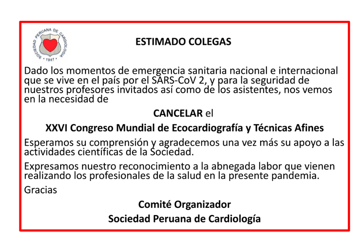 XXVI Congreso Mundial de Ecocardiografía y Técnicas Afines