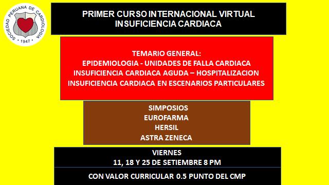 Primer curso internacional virtual – Insuficiencia cardiaca – Setiembre 2020