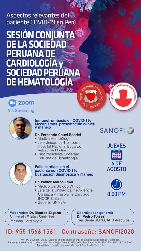 Sesión conjunta de la Sociedad Peruana de Cardiología y Sociedad Peruana de Hematología