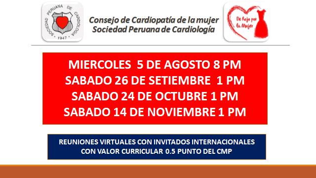 Consejo de Cardiopatía de la mujer – Agosto, setiembre, octubre y noviembre.