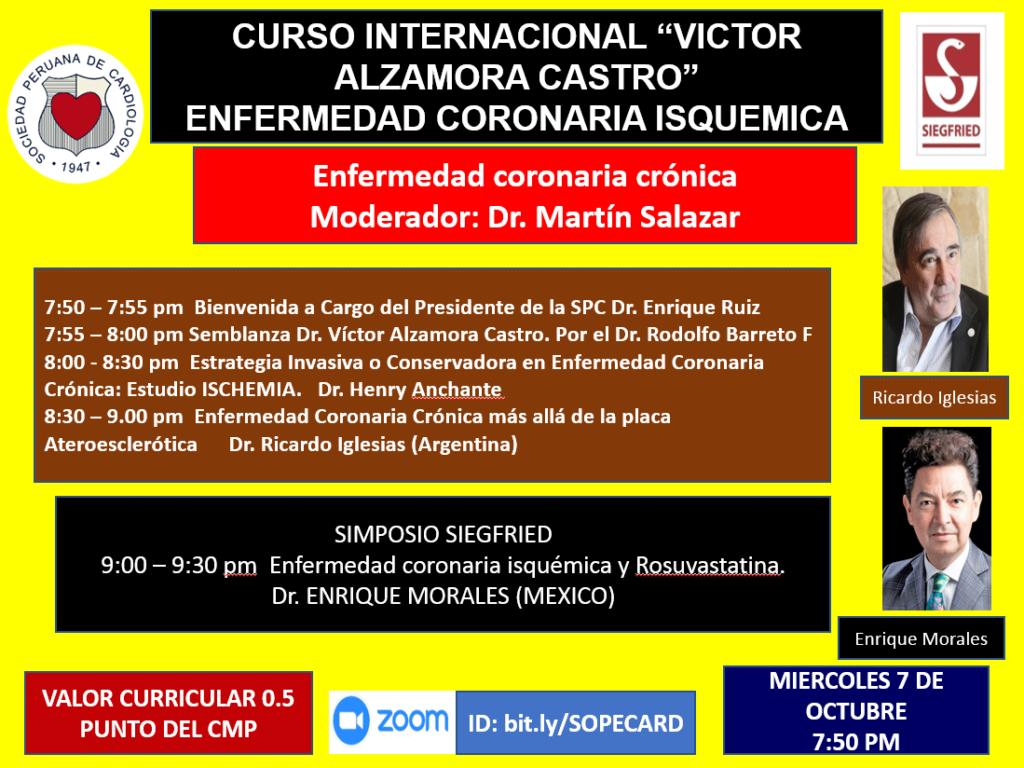 """Curso internacional """"Victor Alzamora Castro"""" – Enfermedad coronaria isquémica"""