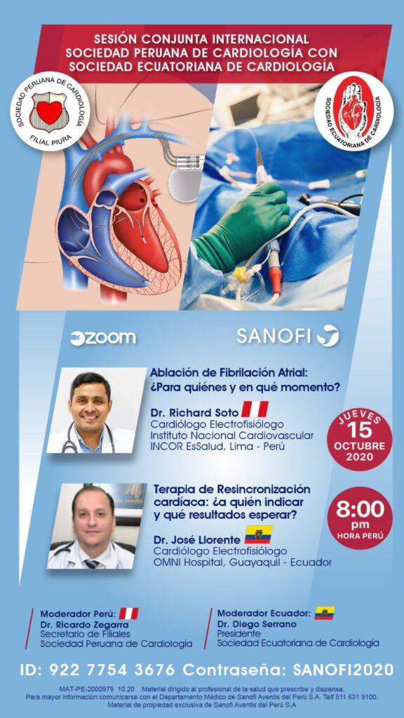 Sesión Conjunta Internacional SOPECARD con Sociedad Ecuatoriana de Cardiología.