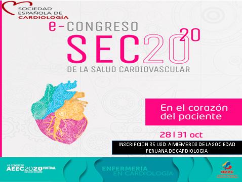 E-Congreso SEC 2020 de la salud cardiovascular – Sociedad Española de Cardiología